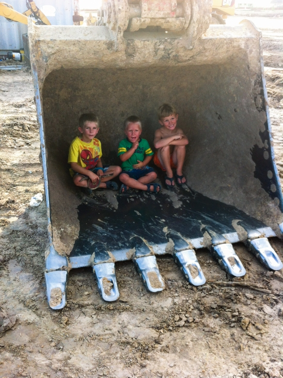 In the excavator bucket!